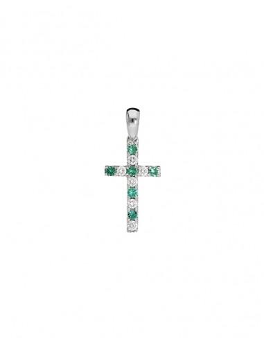 Giorgio Visconti Pendente Croce Oro Smeraldi Ct 0,11 e Brillanti Ct 0,12RIF. CBX38377S