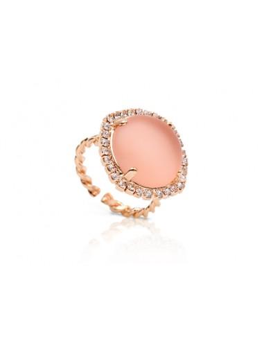 Kemira Anello Donna Bronzo Placcatura Oro Rosa Cristalli e Pietra Rosa.  Rif. KBA72/3/11