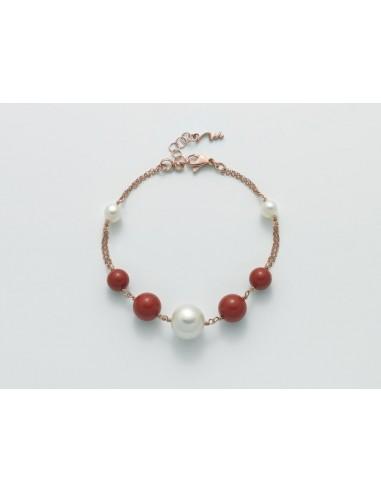 Miluna Bracciale Argento 925 Rosè Corallo Rosso e Perle Collezione Terra e Mare.   Rif. PBR2472M