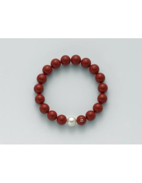 Miluna Bracciale Corallo Rossoe Perla Collezione Terra e Mare.      Rif. PBR1800