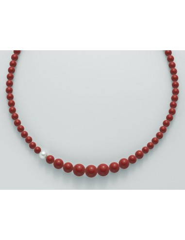 Miluna Collana Corallo Rosso e Perla Della Collezione Terra e Mare.Rif. PCL4655
